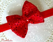 Red Sequin Bow Headband PERFECT FOR HOLIDAYS