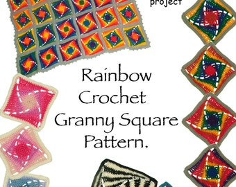 Granny Square Crochet Pattern Rainbow Afghan Blanket Rug Instant Download PDF Pattern