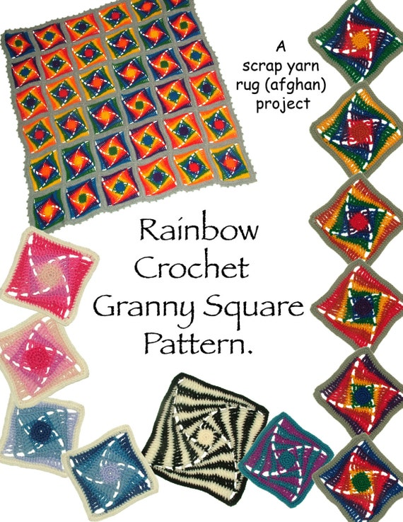 ... Square Crochet Pattern Rainbow Afghan Rug Instant Download PDF Pattern