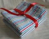 Multicolor Stripes and Gray White Stripes Hankies -SALE -set of 2-Dad Men Christmas Birthday Cotton Seersucker
