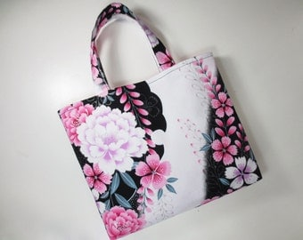 Peony and Dianthus Tote Bag made from Yukata fabric