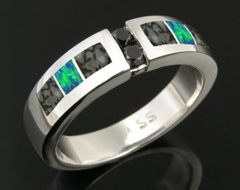 Stainless Steel Dinosaur Bone and Lab Opal Ring with Black Diamonds