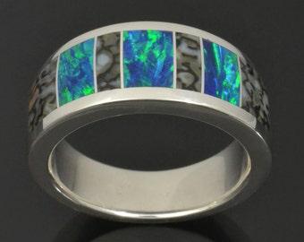 Dinosaur Bone Wedding Ring In Sterling Silver, Lab Opal Wedding Ring with Dinosaur Bone, Opal and Bone Ring by Hileman