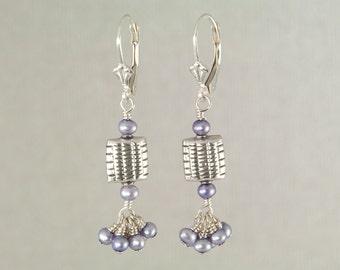 Lavender freshwater pearl earrings, lilac dangle earrings, sterling silver beaded earrings, lavender jewelry