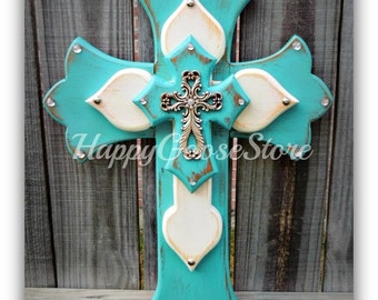 Wall Cross - Wood Cross - Medium - Antiqued Turquoise & White with Silver Top Cross