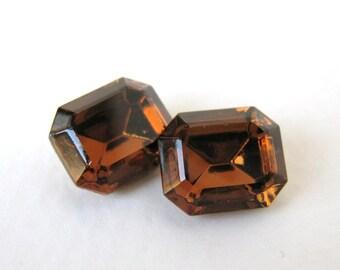 Vintage Rhinestone Swarovski Crystal Smoked Topaz Jewel Octagon 12x10mm swa0544 (2)