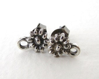 Antiqued Silver Ox Flower Earring Post Ear Stud Daisy Finding Earwires Sunflower Vintage Style erw0118 (2 pc, 1 pair)