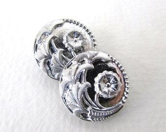 Vintage Czech Button Flower Silver Black Glass Shank 18mm but0207 (4)