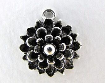 Antiqued Silver Ox Dahlia Flower Charm Mum Pewter Nunn Design 19mm chm0278 (2)
