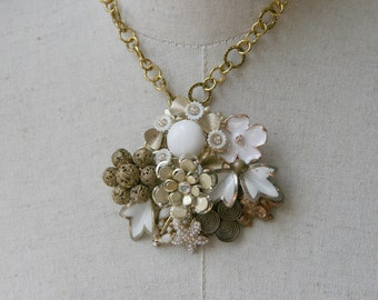 Collage Necklace White Gold Milk Glass Vintage Brooch Assemblage Bride Pearl