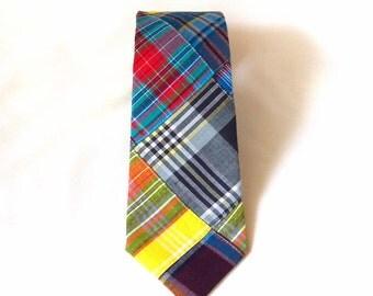 men's cotton necktie - dark madras