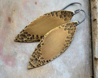 Dangling brass earrings, modern boho jewelry, hammered texture- Uncharted Terrain