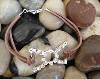 Leather Rhinestone Bracelet, Simple Rhinestone Leather Bracelet, Brown Suede Layered Leather Rhinestone Bracelet, Suede Crystal Bracelet