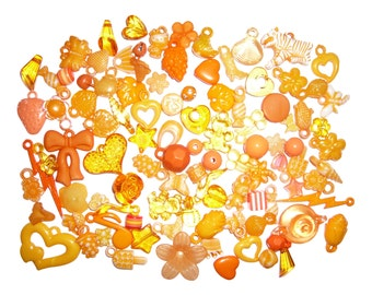 50g Orange Kitsch Mix of Charms and Beads
