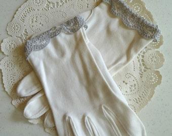 Kay Fuchs Gloves, Vintage White Gloves, gray trim, cotton gloves, dress gloves, misses gloves, small, vintage accessories, ladies gloves
