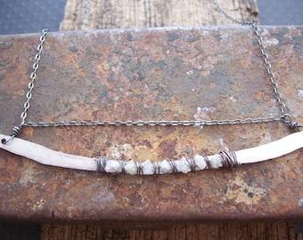 Grey raw diamond bar necklace - Raw stones - Raw diamond necklace - Diamond options