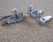 Vintage silver tone Tom Sawyer cuff link set 1959 Sarah Coventry