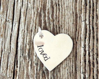 Sterling Silver Heart Charm, Custom Heart Charm, 925 Silver Heart Charm, Bracelet Charm