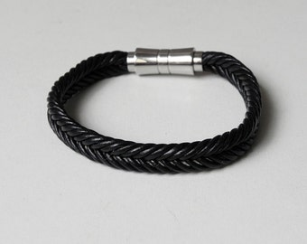 Men Leather Cuff Black Braided Leather Bracelet with Stainless Magnetic Clasp