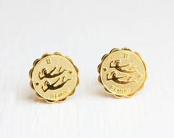Gold Astrology Studs - Gemini
