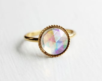 Prism Gold Ring, Celestial Gold Ring, Vintage Gold Ring, Round Crystal Ring, Glass Cabochon Ring, Size 6 Ring