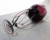 Jozefina Krosno Art Glass Amethyst Octopus 16 Inch Tall Sticker Attached 7 Arms Twisted Swirl Stem by BonAppetitAntique