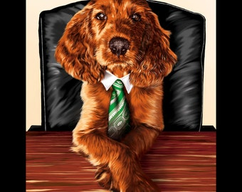 Executive Decision-Irish Setter Puppy - 11x14in print