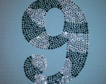 Large Filled in Zebra Rhinestone Number/Age