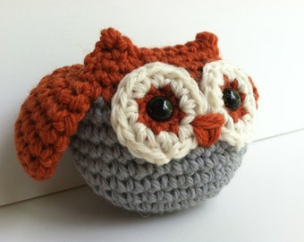 Amigurumi Crochet Burnt Orange Owl Plush Toy Kawaii Owl Gift Under 25 Woodland Stuffed Animal Owl Woodland Nursery Decor Plushie Owl Doll