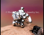 Snowflake Nose Stud/Silver and Diamond Style Nose Stud/Zirconian Nose Stud/Nickel Free Jewelry/Unique Nose Stud/Holiday Gift/ - CUSTOMIZE