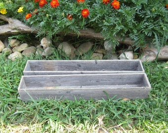 Country Wedding Decor -  2 Long Centerpiece Boxes - Reclaimed Wood Fence - 24in Centerpieces
