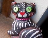 Original Folk art doll Black Cat  with green eyes OOAK by miliaart studio