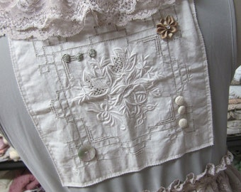 vintage kitty ..lace, vintage linens vest.. dove grey, ecru, embroidery,crochet, ruffles.. shabby chic.. ooak..overtop, layering, size large