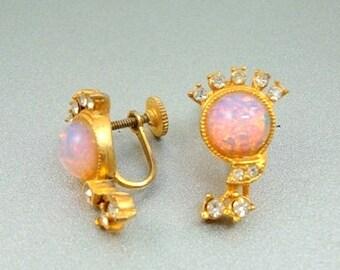 Faux Opal Rhinestone Earrings - Vintage