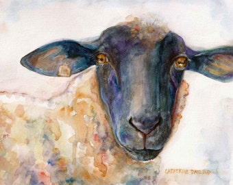 Watercolor Painting Sheep PRINT Original Watercolor painting Nursery ART SHEEP Cathy Darling