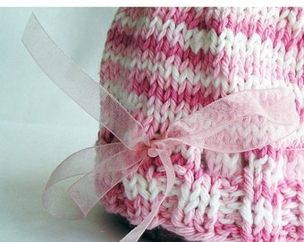 Photo Prop Baby Hat, Hand Knit Pink White Variegated Cotton Yarn, Organza Ribbon