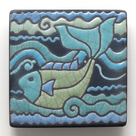 Fishceramic Tile Blue Greenhandmade 3x3 Raku Fired Art