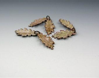 Enameled Extra Small Oak Leaf  / Soft Brown Enamel / Made to order