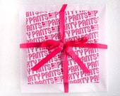 4 SINGLE SHEETS - Put On Your Party Pants / Pink Wave Pattern Gift Wrap
