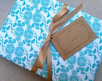 Blue and White Floral Patterned Wrapping Paper for Small Gift or paper placemat