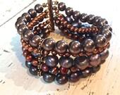 Layered Pearl Bracelet, Multi Strand Multi Colored Pearl Bracelet