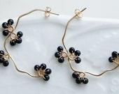 Black Onyx Earrings, Gold Half Hoop, Black Berry Nature Jewelry