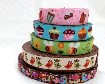 1 Yard Embroidery Sewing Ribbon/Trim - Colorful Holiday Muffin Cupcakes Spring Wee Bees Polka Dots Floral Bird Couple