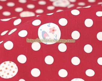 Shabby Chic Bird Floral Polka Dots Fabric, Magenta Red - Japanese Thick Cotton Fabric (Fat Quarter)