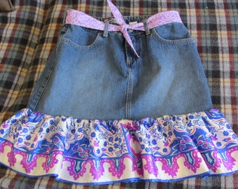 Upcycled Old Navy jean skirt and bright vintage scarf size 6 ladies matching tie belt original