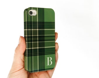 Green Plaid iPhone 6 Case, Tartan iPhone 5S Case, Monogrammed Preppy iPhone 5C Case, Personalized iPhone 6S Plus Cover, Galaxy S6 Edge