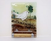Toilet Paper Holder  Bathroom Decor, White bird  in Ivory brown landscape , Fused Glass Wall Art