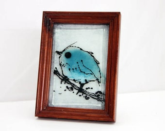 Blue bird art Fused Glass Painting tabletop decoretion landscape on glass