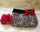 Leopard Print Clutch with Red Bow