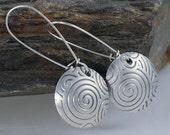 Eco Friendly Sterling Silver Spiral Earrings, Swirl Earrings, Recycled Sterling Silver Earrings,